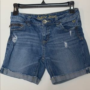 Justice Jeans distressed blue jean shorts size 12R